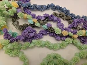 Rose Flower Resin Beads, Dyed, Mixed Color, 14~15x8mm, Hole: 1mm Qty 5 Beads