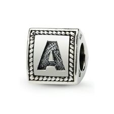 Letter A Triangle Block Bead .925 Sterling Silver Antiqued Reflection Beads