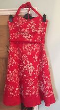 Red And White Floral Pattern Halterneck Boned Dress Size 12 John Rocha Prom, Wed