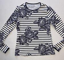 Lands End Women's Stretch Casual Shirt Black White Stripe Blouse Top Size XS 2-4