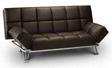 Julian Bowen Manhattan Sofa Bed Settee Brown Faux Leather Modern Retro