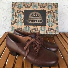 Royal Vintage Shoes~Size 8.5~Claire~Wwii~Brown Leather~American Duchess~Oxford