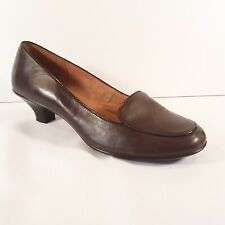 SOFFT Womens 10 M  Brown Leather Kitten Heeled Loafer Comfort Career Shoes