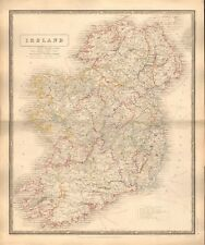 1844 LARGE ANTIQUE MAP- JOHNSTON - IRELAND