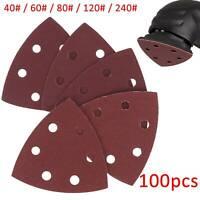 100pcs/Set 40# 60# 80# 120# 240# Triangle Sanding Disc Sheet  Sandpaper Pads NEW