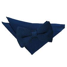 DQT Knit Knitted Plain Navy Blue Pre-Tied Men's Bow Tie Handkerchief Set