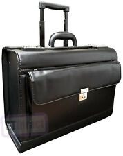 Deluxe Faux Leather Wheeled Pilot Trolley Case Business Briefcase Bag on Wheels