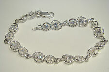 "Solid 925 Sterling Silver Chain Bracelet, Clear Cubic Zirconias 7,8"" (20cm) 9,2g"