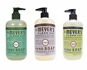Mrs. Meyer's Hand Soap Variety Pack Lemon Verbena, Basil, Lavender 12.5 Fluid...