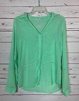 Splendid Women's Size M Medium White Green Striped Cute Spring Summer Blouse Top