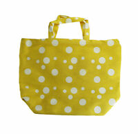 Saks Fifth Avenue Women's Large Yellow And White Polka Dot Tote Bag New