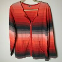 ExOfficio Women's Jacket Top Size XL Long Sleeves Full Zip Stripes Red Gray