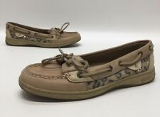 Sperry Top-Sider Angelfish Womens Linen/Leopard Sequin Boat Shoes Size 8M