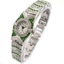 New Exclusive Emerald White Crystal Silver Bracelet Women's Jewelry Watch