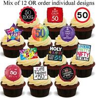 NOVELTY 50th Birthday Party STAND UP Edible Cake Toppers 50 Fifty Fiftieth Cute