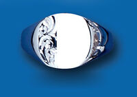 Signet Ring Men's Solid Sterling Silver Engraved Cushion Gents