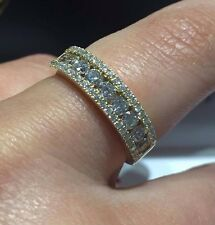 18CT YELLOW GOLD 1.00CT GSI DIAMONDS HALF ETERNITY FANCY LADY RING GOY353
