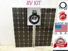 2- 165  Watt 12 Volt Battery Charger Solar Panel Off Grid RV Boat 330 watt total