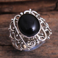 Fine HANDMADE 925 Solid Sterling Silver Jewelry BLACK ONYX Ring Size 6.5