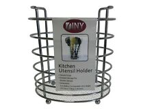 Kitchen Utensil Holder Caddy Rack Mesh Bottom - Chrome Finish (6970)