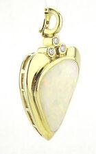 Anhänger, Unikat, 750 / 18k Gold ,weißer Opal, Brillanten Handarbeit Designer