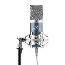 Auna Mic-900bl USB Condenser Microphone Blue Cardioid Studio PC Mac Podacast Web
