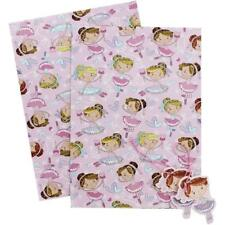 Ballerina Pink 2 sheets gift wrap & 2 Ballerina gift tags Girls Wrapping Paper