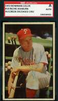 Richie Ashburn 1953 Bowman SGC Coa Autograph Authentic Hand Signed