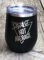Personalized Polar Camel 12 oz. Matte Black Vacuum Insulated Stemless Wine Glass
