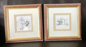 PAIR OF VINTAGE WINNIE THE POOH FRAMED DRAWING PENCIL SKETCHES , E.H. SHEPARD