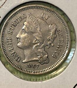 1867 Three Cent Nickel Piece 3C Higher Grade Civil War Era US Coin.  (TCN12)