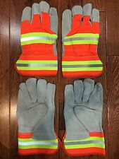 2 Pair Leather Working Gloves Men's Reflective Strips Standard Utility Work