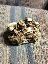 Japanese Netsuke Three Figures, 5 Dragon Group, Sleeping Cat & Rabbit Pair