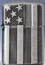 Zippo us Flag Armor case, Antique Silver Plate, Deep carve, choice 2016