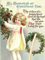 C.1910 Clapsaddle Adorable Girl Holly Chair Wreath Postcard P134