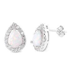 Tear Stud Earrings with Lab Opal & CZ Sterling Silver 925 Elegant Jewelry White