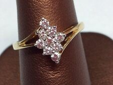 """DIAMONDS AND 14K TWO TONE GOLD CLUSTER RING """"FREE SIZING"""""""