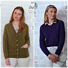 KNITTING PATTERN Ladies Easy Knit V-Neck Jacket and Jumper Chunky KingCole 4703