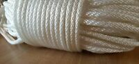 "3/16"" x 300 ft. Solid Braid Polyester rope hank .White. Made in USA"