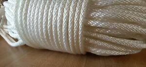 """3/16"""" x 300 ft. Solid Braid Polyester rope hank .White. Made in USA"""