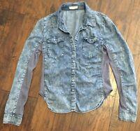 Chocolate USA Brand long Sleeve Blue Jean Denim Shirt Junior Youth Girl Size S