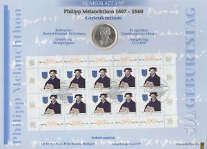BUND 1997 Numisblatt 1/97 - Melanchthon, 10 DM Silber-Münze + Kleinbogen