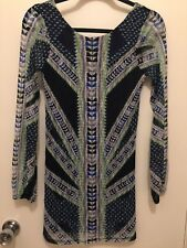 Fire Los Angeles Womens Size Small Blue Tribal Dress