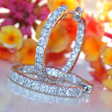 1.50Ct White Diamond Art Deco hoop Earrings in real Solid 14K White Gold