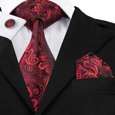 USA Red Mens Tie Silk Solid Stripe Paisley Plaid Necktie Classic Tie Set Wedding