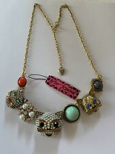 Betsey Johnson rhinestone crystal pearl CAT women necklace Retro-BJ49118