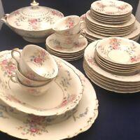 KPM Royal Ivory Antique Floral Rose Dinner Service Setting for 5 Germany 38 Pcs