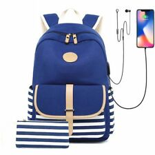 Fashion Canvas Women Backpack USB Charge Laptop Bagpack School Bags for Girls