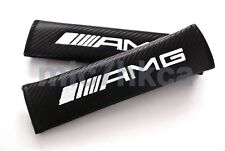 2x carbon fibre car seat belt cushion cover pads for AMG mod Mercedes (UK stock)