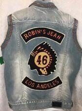 Robins Jeans Vest Blue Denim Studded Los Angeles Patch Size XXL